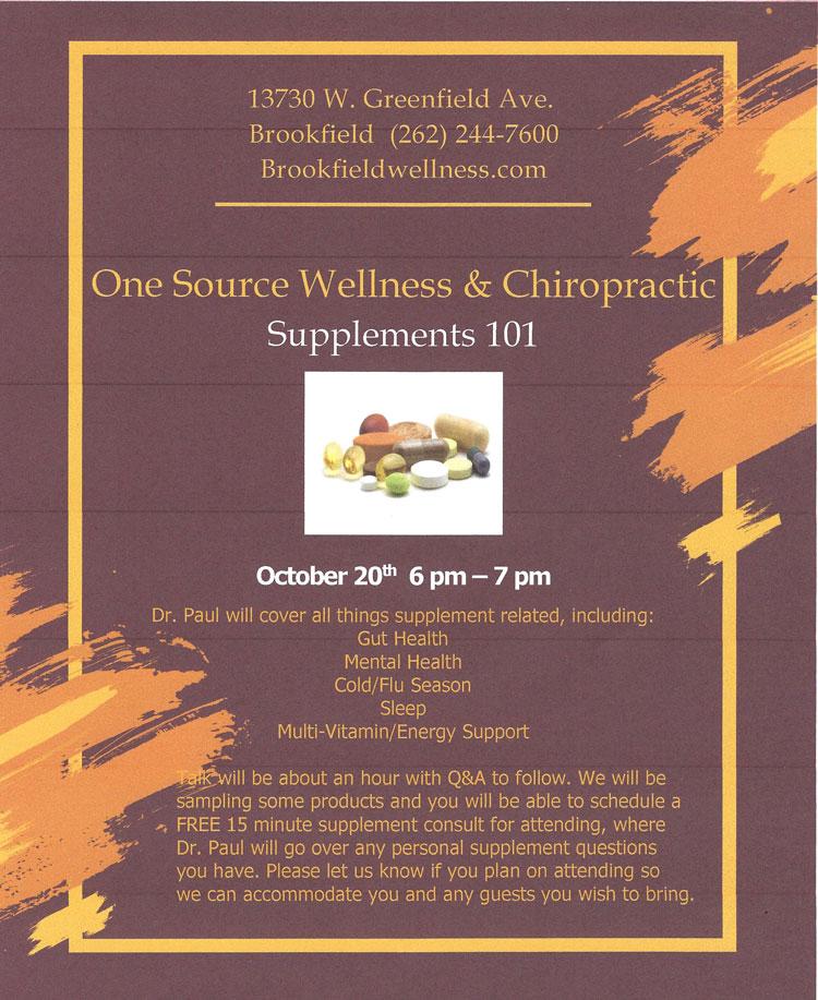 Chiropractic Brookfield WI Supplements 101 Event